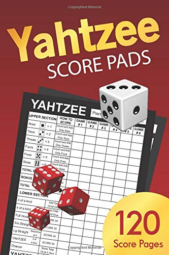 Yahtzee Score Pads: 6 x 9 BLACK edition | Yahtzee Score Sheets, Cards, Travel Size Dice Game Book | Keep Track Of Every Full House
