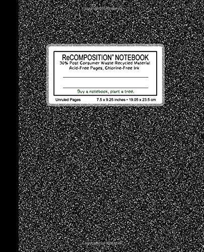 "ReCOMPOSITION NOTEBOOK: Flex Cover (semi-rigid), 100 unruled & numbered pages, 55 lb creme color paper , 7.5"" x 9.25"", acid free pages, chlorine free ... Marble Fine Grain White dark) (Volume 1)"
