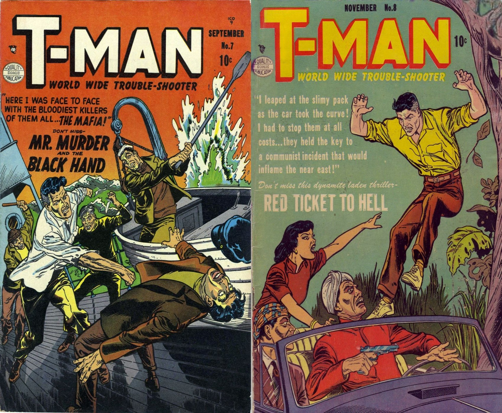 T man. Issues 7 and 8. World wide trouble shooter. Features Mr Murder and Red ticket to hell. Black Hand, Golden Age Digital Comics Action and Adventure.
