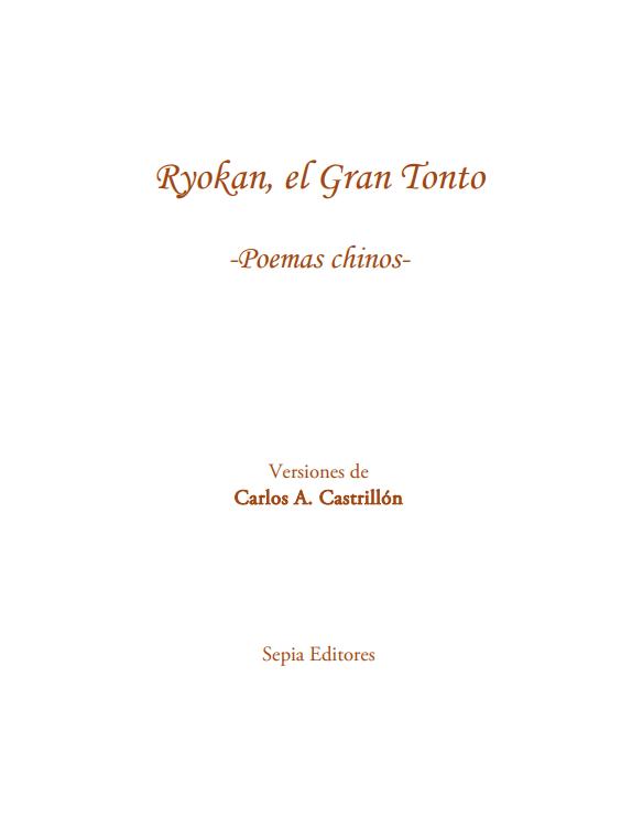 Ryokan, el Gran Tonto, poemas chinos