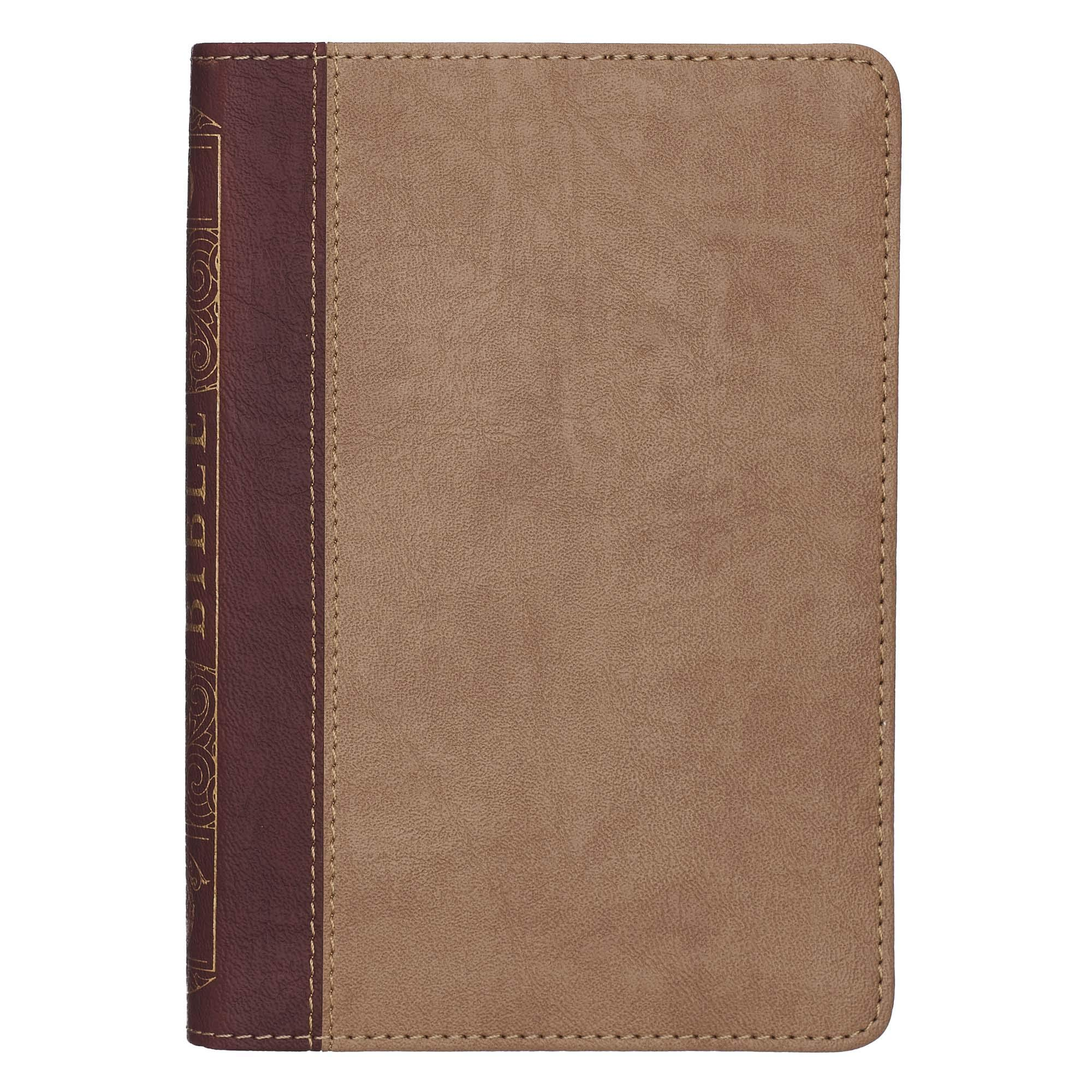 KJV Holy Bible, Compact Bible - Two-Tone Brown Faux Leather Bible w/Ribbon Marker, Red Letter Edition, King James Version
