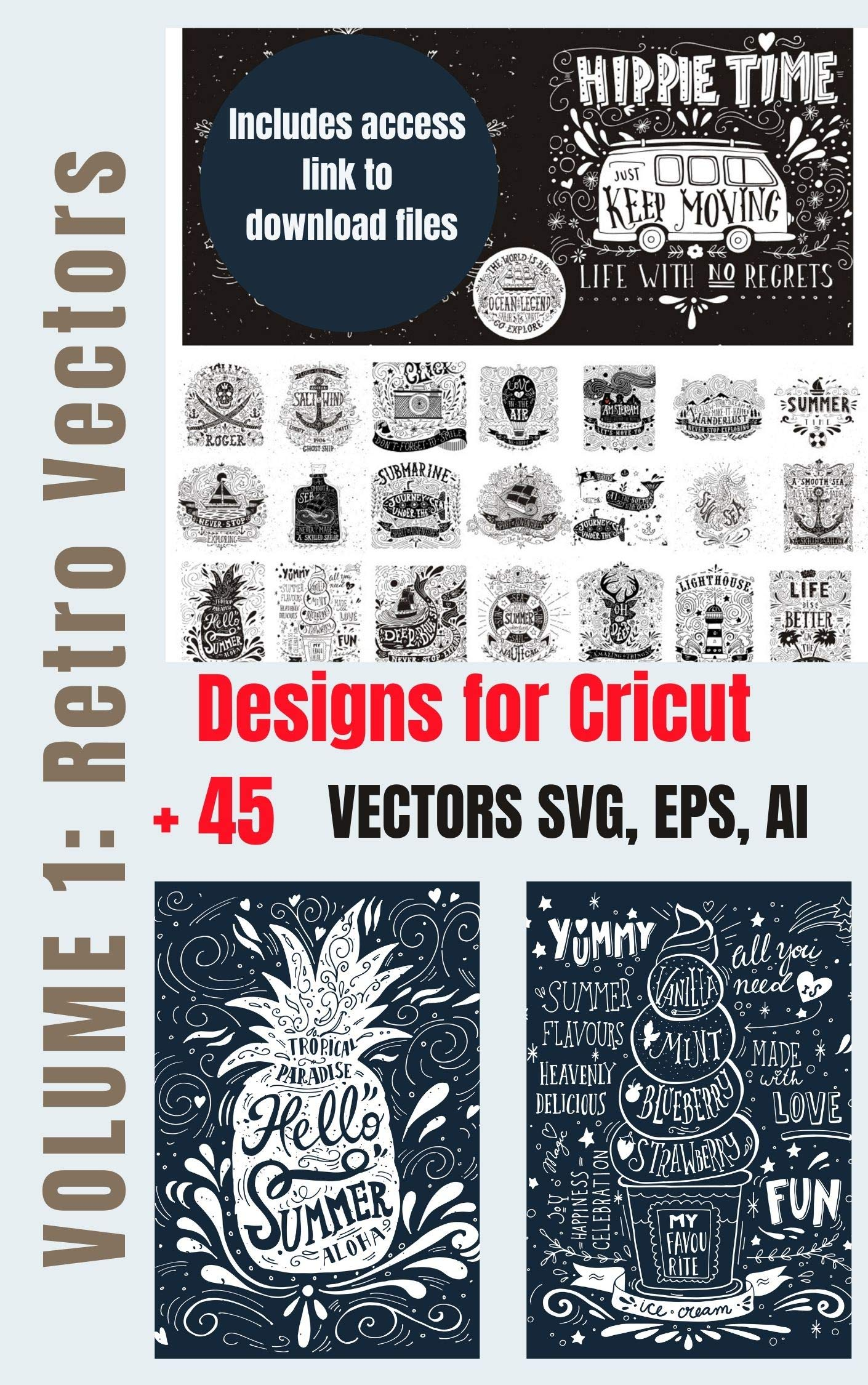 Designs for Cricut (Volume 1): Free SVG files for Cricut in Ebook format (includes free SVG download link)