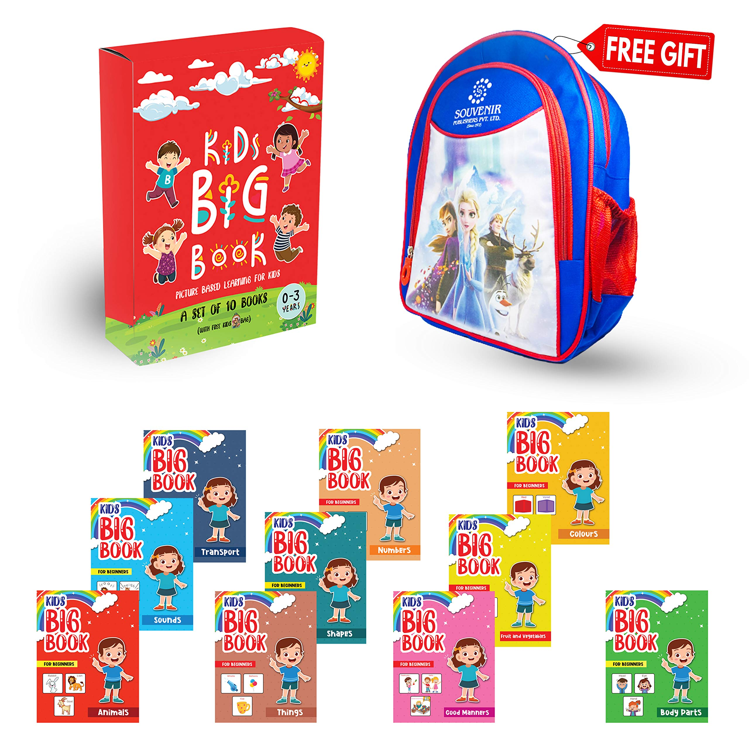 Kids Picture book for beginners, Toddler book Set of 10 Books with a free School Bag, Things, Fruits & Vegetables, Transport, Activity, Sounds, colors and Numbers