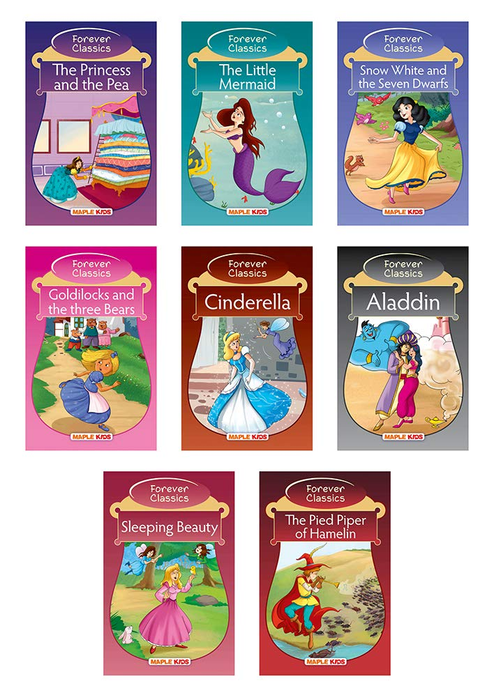 Forever Classics (Set of 8 Fairy Tales with Colourful Pictures)- Story Books for Kids - Aladdin, Cinderella, Goldilocks and the Three Bears, Sleeping ... Piper of Hamelin, The Princess and the Pea