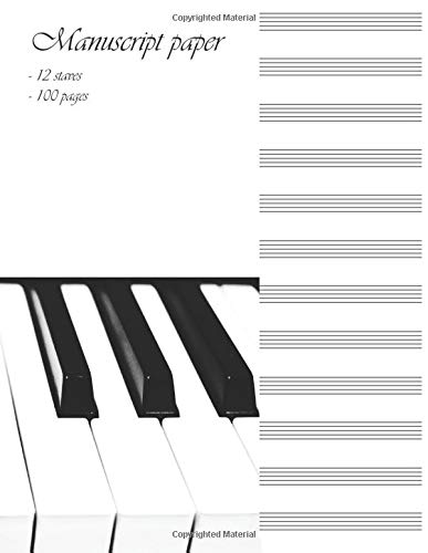 Manuscript paper: Blank sheet music notebook to be used as music manuscript. 12 Staves per pages. (Music Books)