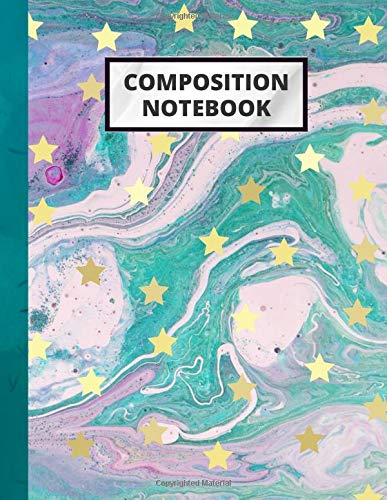 Composition Notebook: Cute Elegant Trendy Teal Gold Marble With Pink Composition Notebook College Ruled Tye Dye for Home School Girls Kids Teens ... Notes Journal Gift For Birthday and Christmas