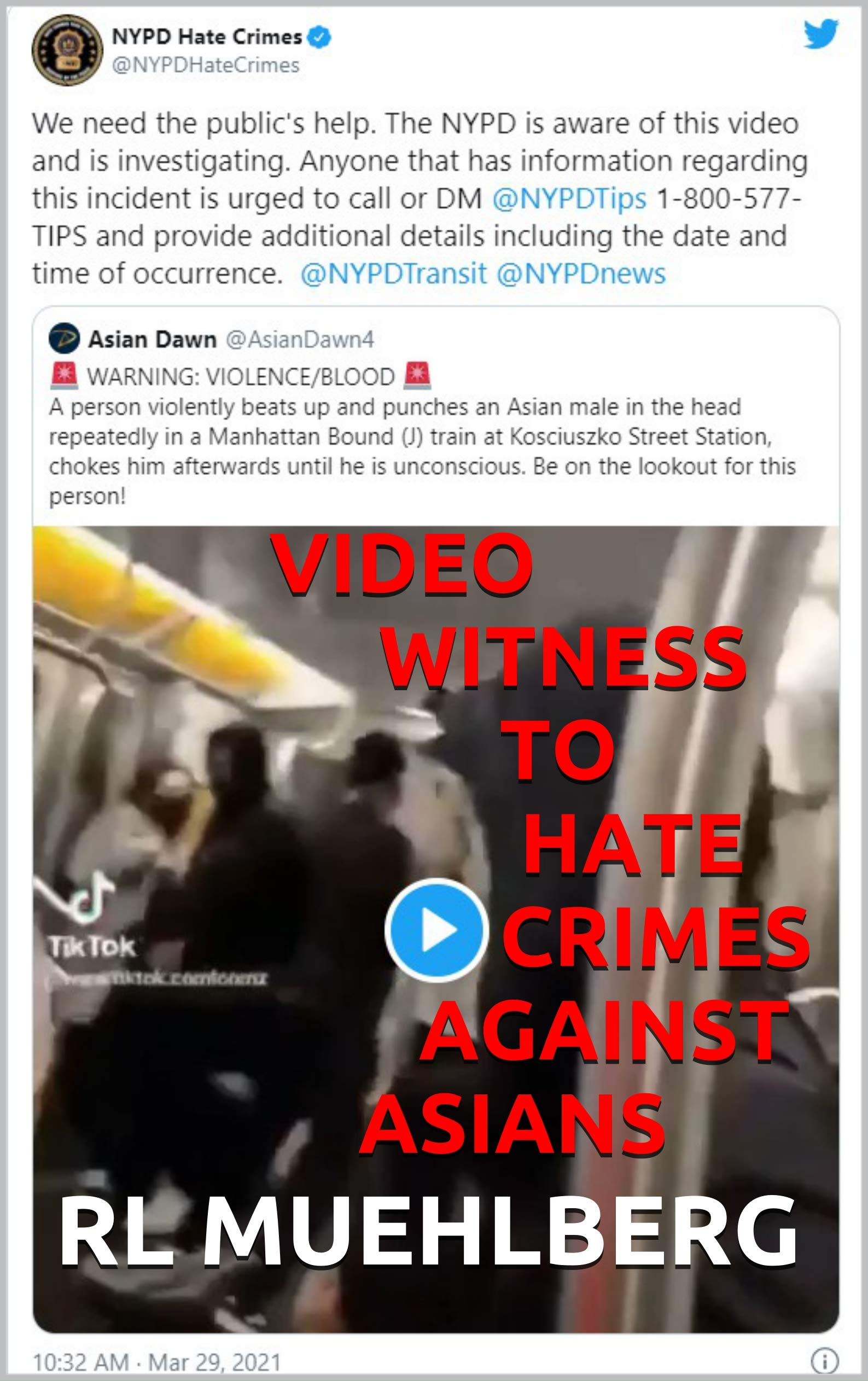 Video Witness to Hate Crimes Against Asians (monograph against hate)