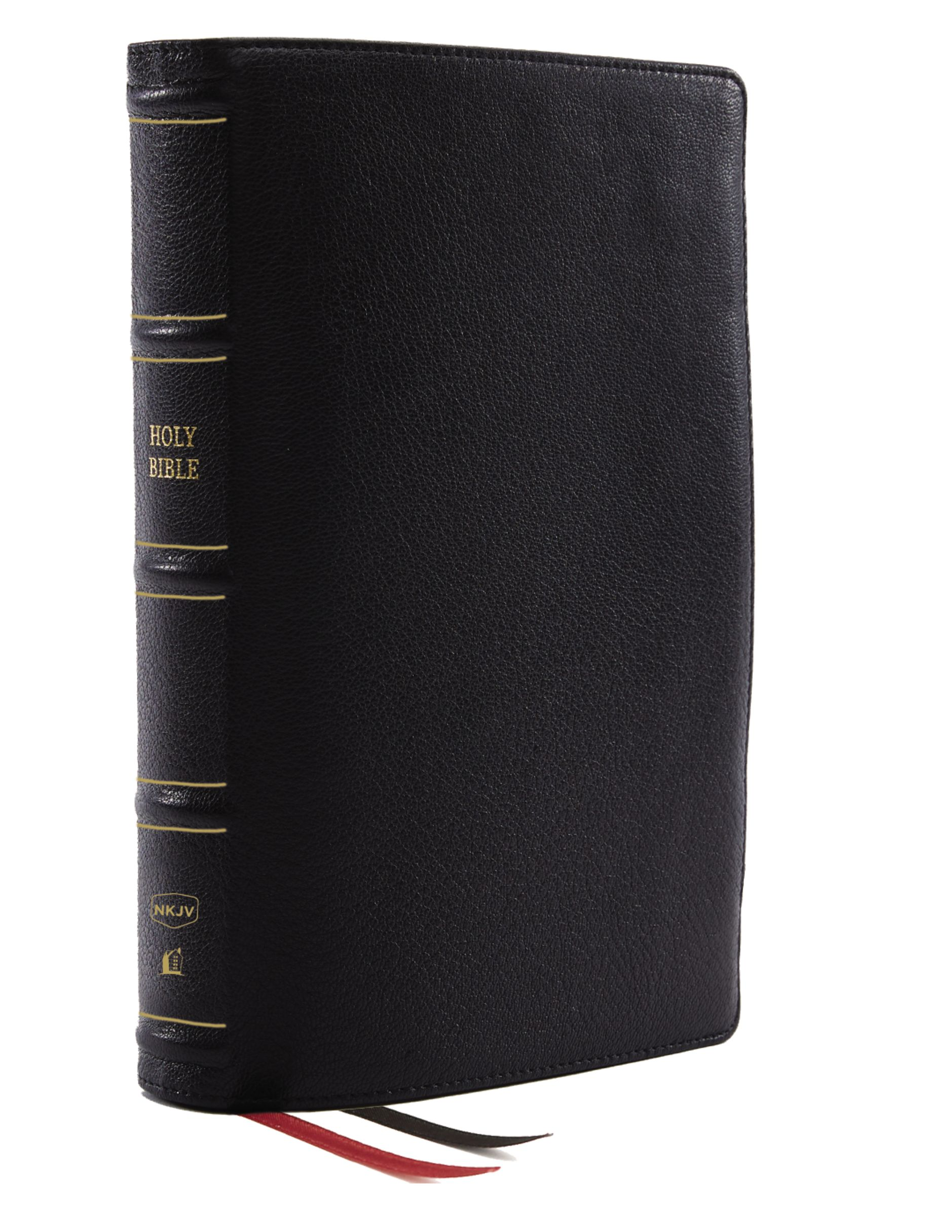 NKJV, Thinline Reference Bible, Genuine Leather, Black, Red Letter, Thumb Indexed, Comfort Print: Holy Bible, New King James Version