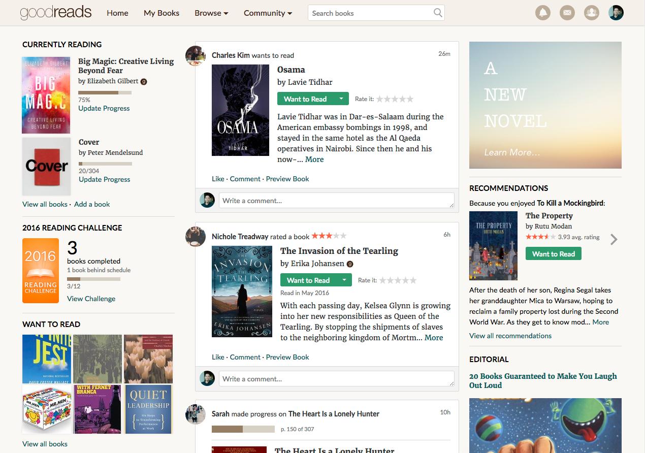 New Goodreads beta homepage