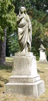 This monument is the James Wynne Jones Family Monument at Spring Grove Cemetery in Cincinnati.  The woman is holding an anchor under her cloak.
