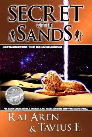 """<b>Secret of the Sands, 2009 ReadersFavorite.com """"Fiction-Mystery"""" silver medalist</b>  This is our updated cover (changed in 2010), the difference is that it has new wording & our lovely & *shiny* silver medal :)"""
