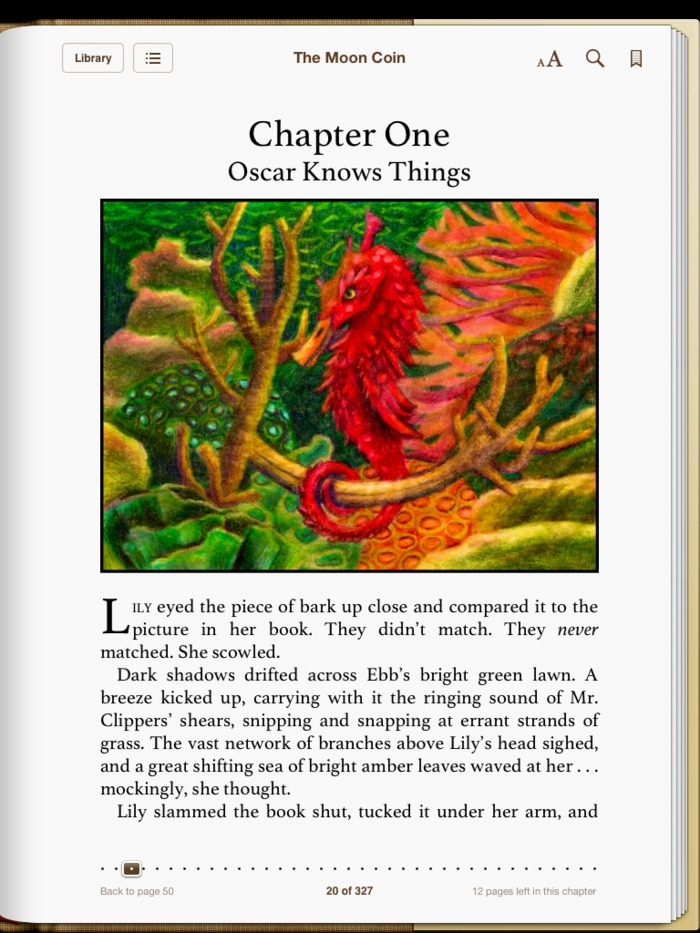"""This is what the first page of chapter one looks like on an iPad. Pictured here is Oscar, a flying electrimal of the Birdfish variety.  Free Sneak Preview of The Moon Coin! Formatted for ePub, Mobi, or PDF. Please share. Enjoy. <a href=""""http://wp.me/p1BEjH-2U"""">http://wp.me/p1BEjH-2U</a>"""