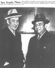 """John """"Peanuts"""" Tronolone and Joseph DiCarlo are photographed after being found not guilty of assault in 1937."""