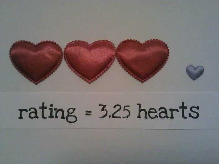 3.25 hearts rating