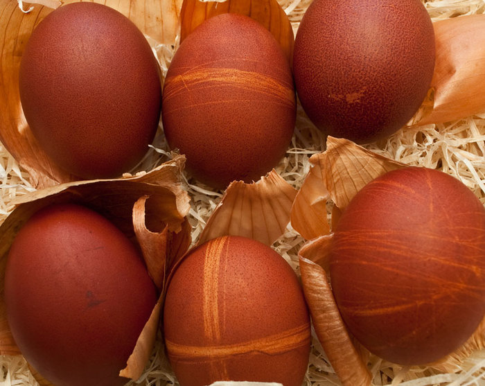 Traditional coloured easter eggs