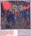 This incident happened in 1393. It's a fairly horrifying story. Wikipedia has a decent treatment.  http://en.wikipedia.org/wiki/Bal_des_Ardents  For the video oriented, here's a YouTube contribution with good images. https://www.youtube.com/watch?v=bGG1JCY-iBo