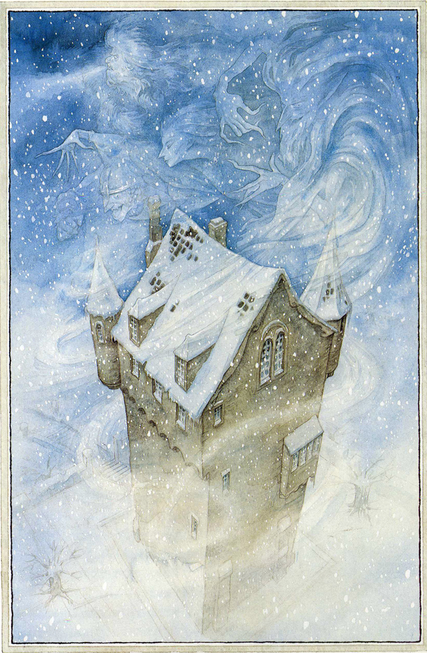 The Snow, Frost, Hail, and North Wind dancing around the Giant's castle