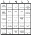 Bingo Board for our Reading Bingo game.
