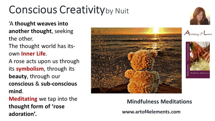 meditation rose adoration conscious creativity mindfulness meditations book quote by Nataša Pantović Nuit