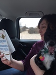 Jennifer reads on her road trip with Dale the Dog.