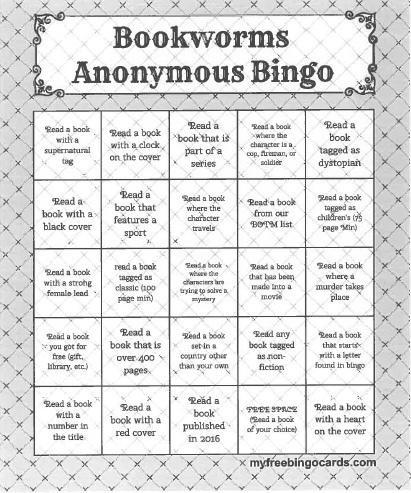 Bookworms Anonymous Bingo