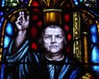 Stained glass depiction of Martin Luther