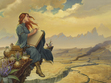 The inside of the Words of Radiance cover, depicting Shallan on the Shattered Plains.