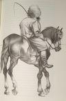 Das Pferd Leinwandmesser und Nestor.   Zeichnung von Michael Mathias Prechtl aus dem Erzählband von Tolstoi