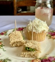 I think the Sweet Tea Cupcakes with Whipped Coconut Frosting and cucumber tea sandwiches nailed our party snacks for Emma.