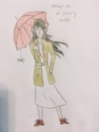 Here's that oc I drew for Melody- I took liberties on her clothes and the colors, though, but I hope it's close enough to how she really looks. Fun fact: this was my first time ever drawing an umbrella