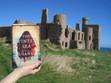 On location with split time novel, The Winter Sea by Susanna Kearsley, at Slain Castle in Cruden Bay, Scotland
