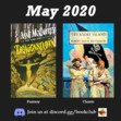 """In May we are featuring """"Dragonsdawn"""" by Anne McCaffrey and """"Treasure Island"""" by Robert Louis Stevenson."""