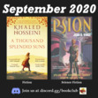 """In September we are featuring """"A Thousand Splendid Suns"""" by Khaled Hosseini and """"Psion (Cat, book 1)"""" by Joan D. Vinge."""