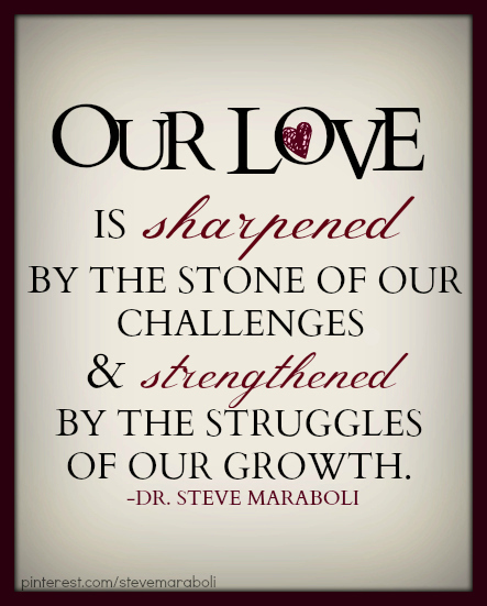 "Our Love Quotes Quote by Steve Maraboli: ""Our love is sharpened by the stone of  Our Love Quotes"